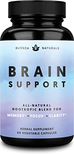 Brain Supplement Natural Nootropic Brain Booster for Focus, Energy, Memory, Mood, Clarity, and Brain Support with Lions Mane, Ginkgo Biloba Bacopa Monnieri, Memory Supplement Focus Supplement