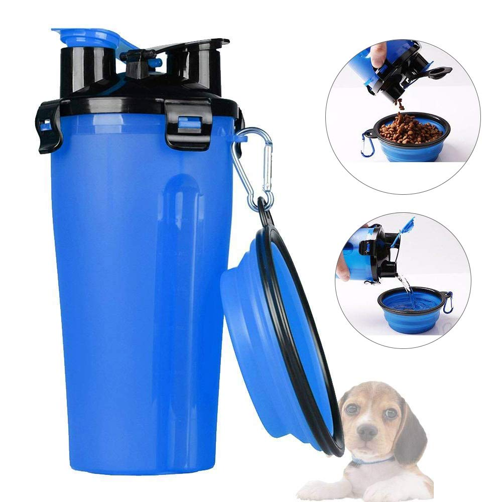 Mrrainbow Dog Water Bottle,2 in1 Portable Pet Food Water Container with Collapsible Bowl for Travel, Walking, Hiking, Running, Outdoor