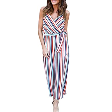 c6f283c9076 Striped Harem Jumpsuit Womens Ladies,Lolittas Summer Jersey Culotte Maxi  Long Petite Wide Leg Bandeau Off Shoulder Casual Jumpsuit Overall: Amazon.co .uk: ...