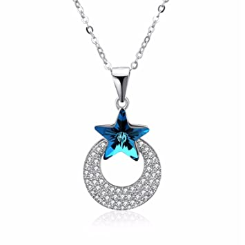 92a808056 Image Unavailable. Image not available for. Color: ptk12 Genuine 925  Sterling Silver Crescent Moon & Star Shimmering Blue Crystal Pendant  Necklaces