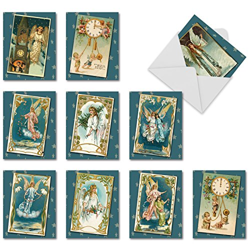 10 Assorted 'Blue Angels' Season's Greeting Cards with Envelopes 4 x 5.12 inch, Heavenly Messengers with Blue Backgrounds and Stars, Pretty Vintage-Inspired Angels and Cherubs Cards M1756XS