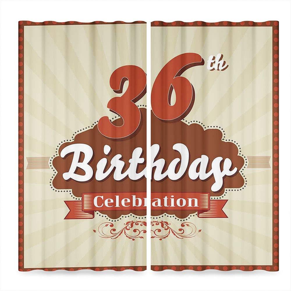 C COABALLA 36th Birthday Decorations Door Curtain,Birthday Celebration Invite Chocolate Wrap Like Image,for Living Room, 2 Panel Set, 28W X 39L Inches