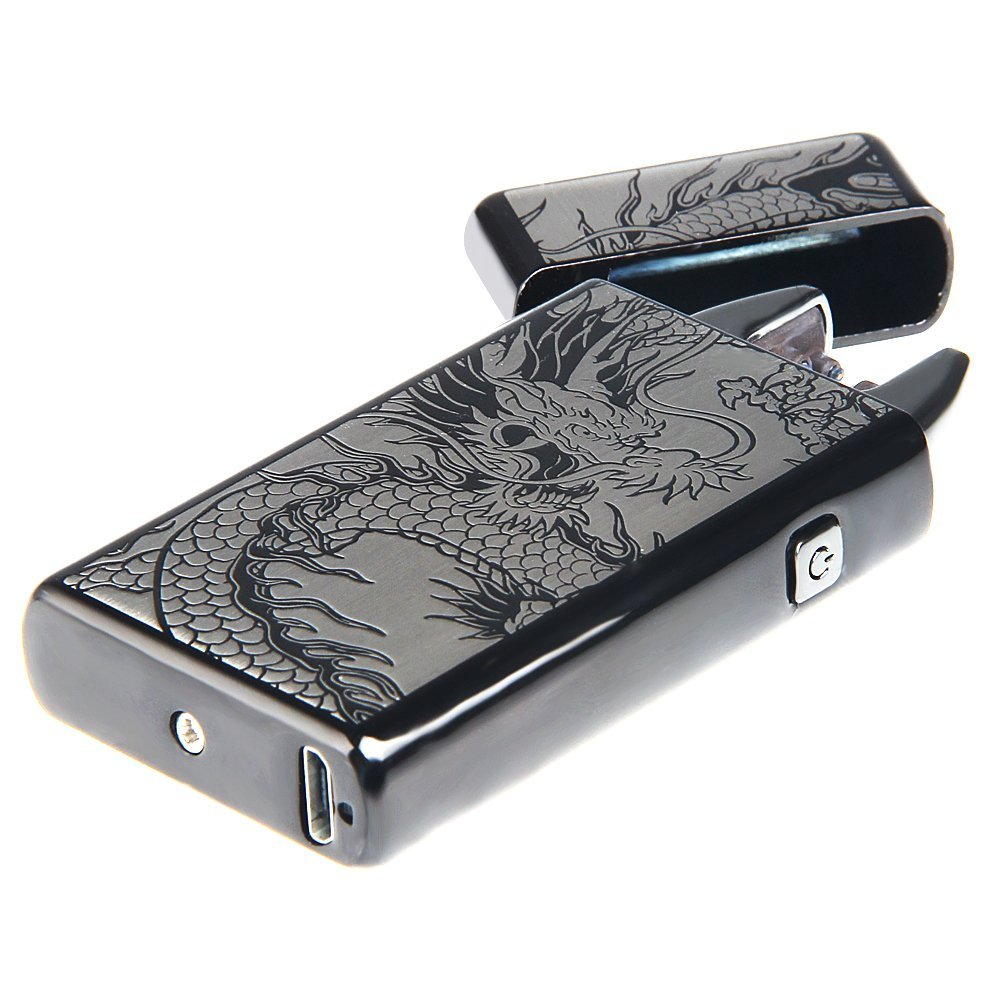Kivors USB Rechargeable Windproof Flameless Electronic Double Pulse Arc Cigarette Lighter Belief Chinese Dragon Lighter by Kivors (Image #7)