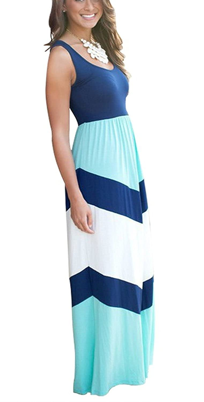 shangke Womens Zig Zag Scoop Neck Wave Striped Tank Maxi Long Dress ...