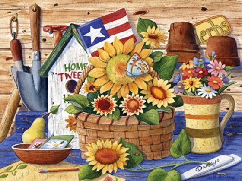 Puzzle Collector Art 500 Piece Puzzle  Sunflowers And Flag by Lafayette Puzzle Factory