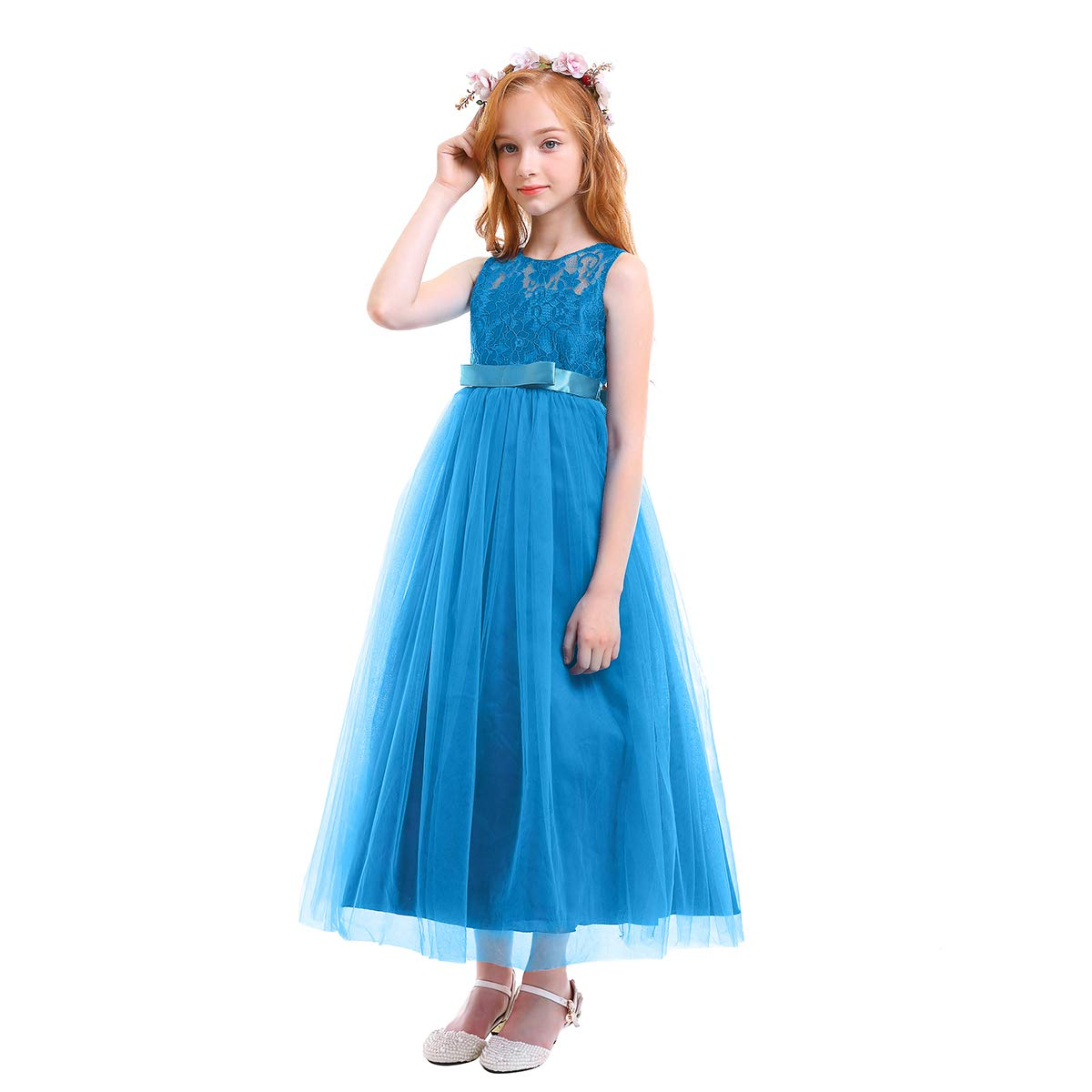 Amazon.com  Big Girl Flower Lace Princess Tulle Long Dress for Kids Prom  Formal Pageant Dance Gown  Clothing 2316a7195