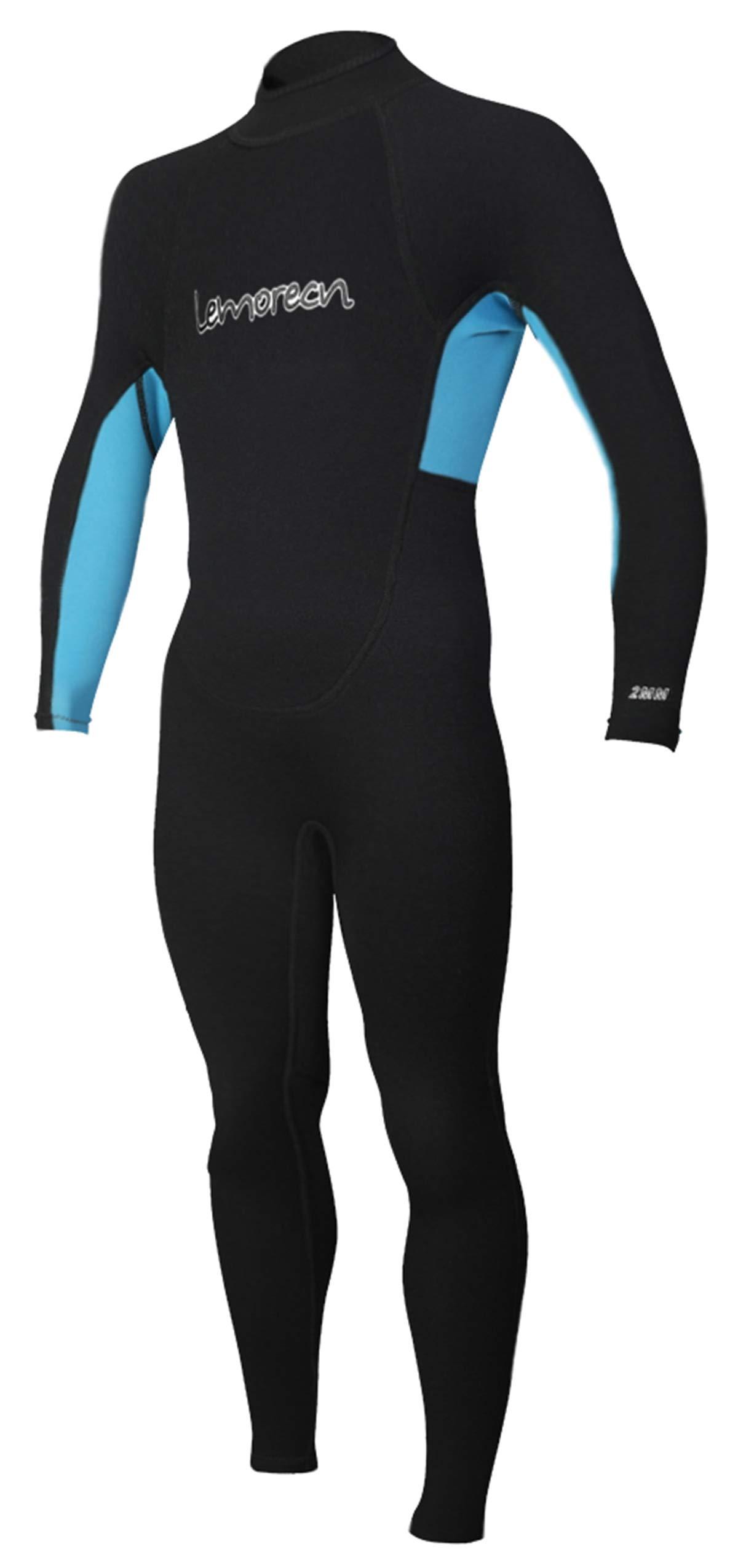 Lemorecn Kids Wetsuits Youth Premium Neoprene 2mm Youth's Shorty Swim Suits (4032blackblue6)