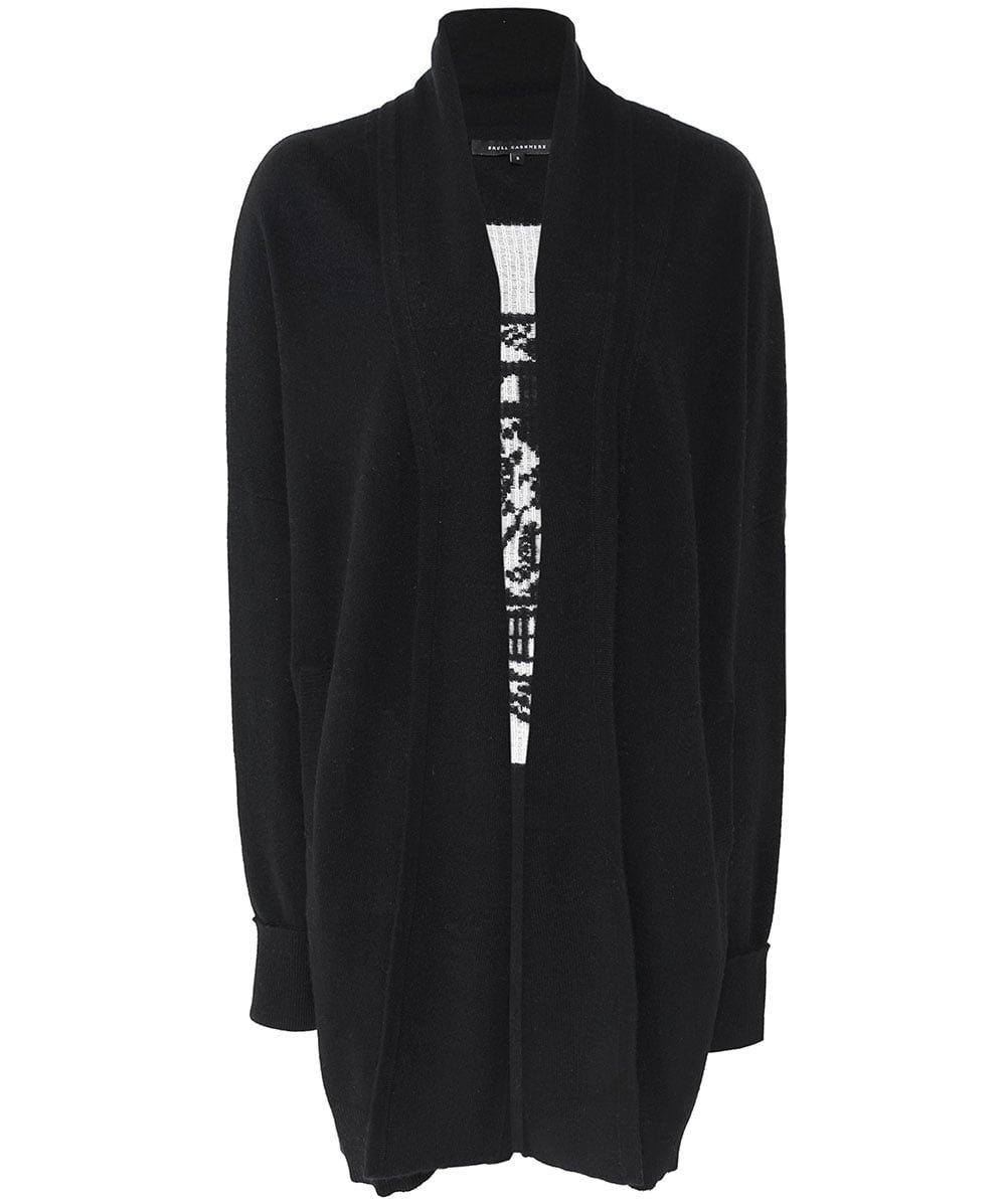 360 Sweater Women's Cashmere Scarlett Skull Cardigan Black & Chalk S