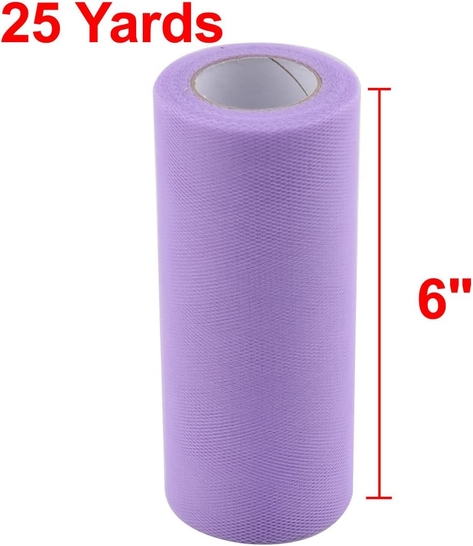 uxcell Polyester Wedding Party Candy Box DIY Decor Tulle Spool Roll 6 Inch x 25 Yards Light Purple
