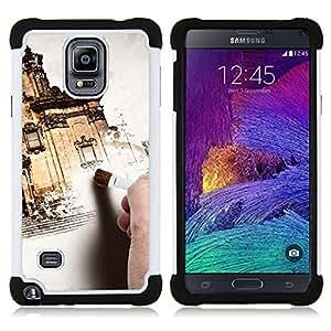 BullDog Case - FOR/Samsung Galaxy Note 4 SM-N910 N910 / - / EXTERIOR ARCHITECTURE PAINTING HOUSE DESIGN /- H??brido Heavy Duty caja del tel??fono protector din??mico - silicona suave