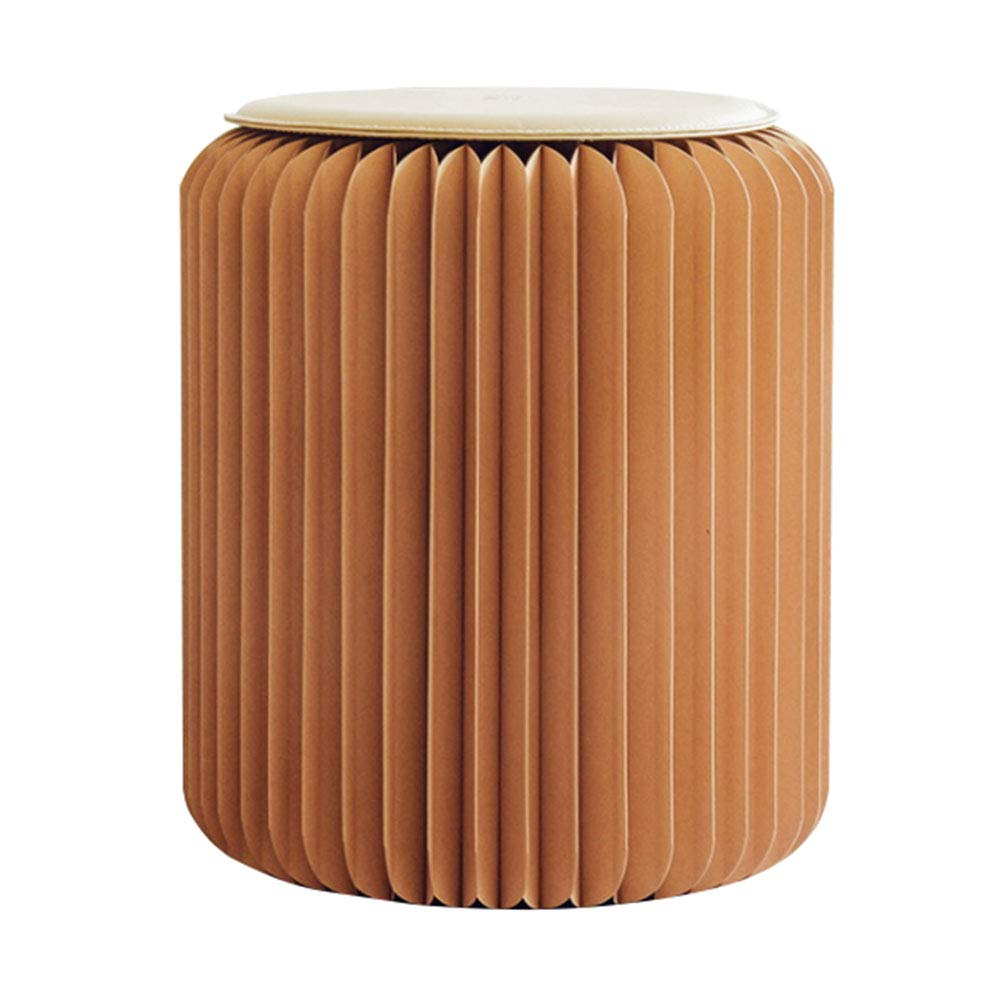 Brown Portable Folding Kraft Paper Stool Personalized Chair Can Bear 300kg, Hexagonal Honeycomb Structure Suitable for Home School Dormitory, Etc,Brown