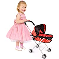 Doll Stroller with Baby Doll Foldable Umbrella Doll Strollers with Swivel Wheels Handles for Toddlers Kids