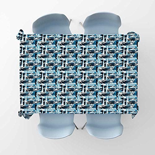 kungfu Decoration Blue Waterproof Tablecloths Tropical Beach Palm Trees Pattern with Grunge Effect and Abstract CompositionRectangle/Oblong Table Cover W 52