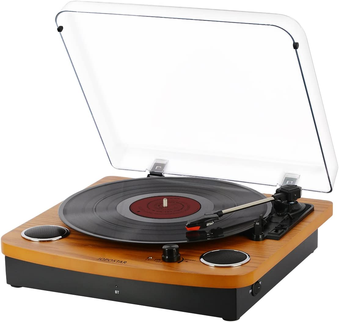 JOPOSTAR Vinyl Record Player Built-in Dual Stereo Speakers