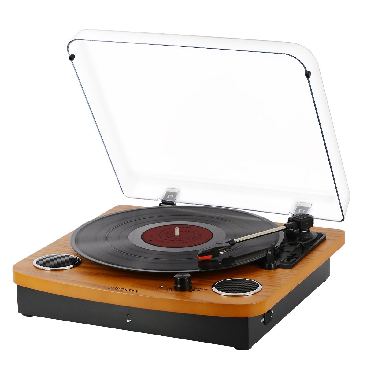 Bluetooth Turntable,JOPOSTAR Vinly Record Player Built-in Dual Stereo Speakers, LP 3-Speed Belt Driven, Aux Input & RCA Output, Natural Wood by JOPOSTAR