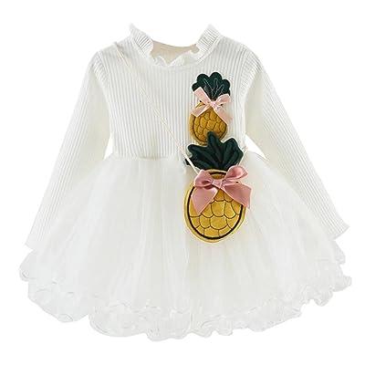 ☀Robe de princesse de regard,Mounter Enfants bambins bébé filles vêtements d'ananas à manches longues jupe partie 6-24Mois, Manches courtes