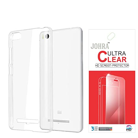 newest 2961f 311c6 Johra Transparent Soft Back Case Cover with Screen Guard for Xiaomi Mi4i