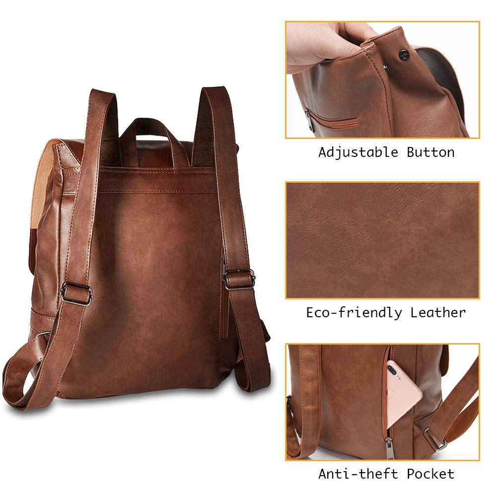 LXY Vegan Leather Backpack Vintage Laptop Bookbag for Women Men, Brown Faux Leather Backpack Purse College School Bookbag Weekend Travel Daypack by LXY (Image #3)