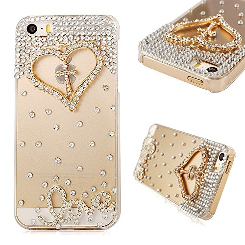 iPhone SE Case,Iphone5S Case,iPhone 5 Case - Mavis's Diary Luxury 3D Handmade Bling Crystal Golden Love Heart Cross with Shiny Sparkle Rhinestone Diamonds Girly Clear Hard Cover with Soft Clean Cloth