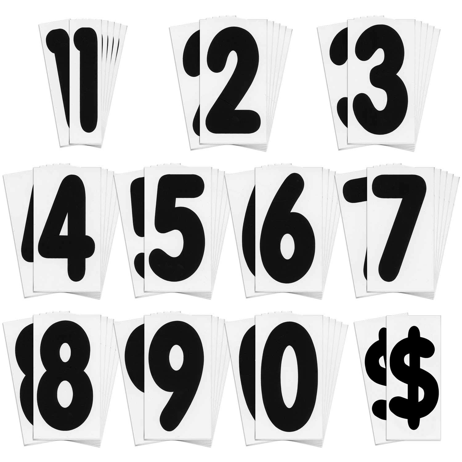 KitAbility Replacement Number Set for White Message Board Sidewalk Signs with 4 Inch Tracks Includes 6 Each of Black Numbers 0 to 9
