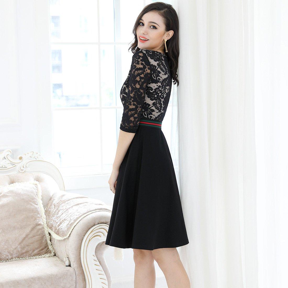 Miusol Damen Elegant Spitzen Blumengedruckt Abendkleid ...