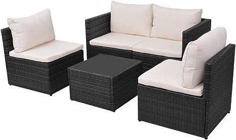 mewmewcat Conjunto Muebles de Jardín de Ratán 13 Piezas con Mesa y Cojines Extraíbles,Sofas Exterior para Jardín Estructura de Acero Negro: Amazon.es: Deportes y aire libre