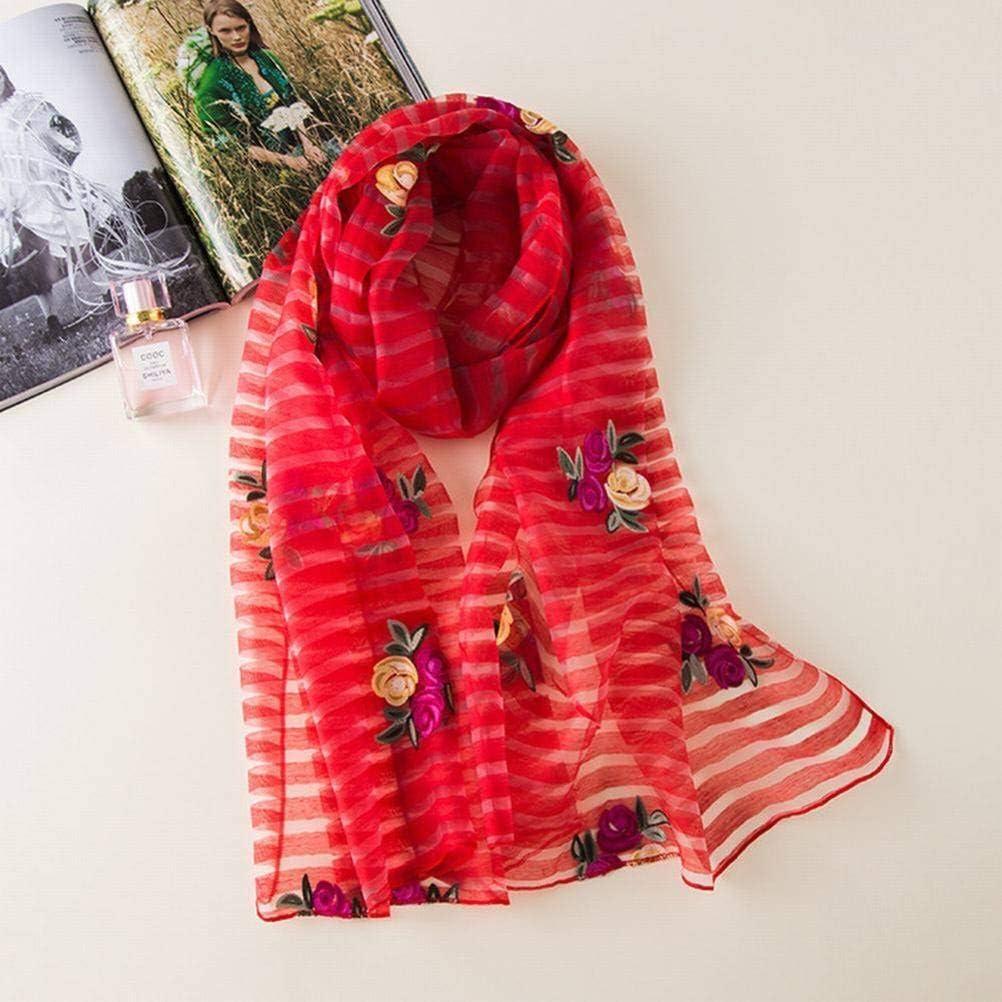 SLI-scarf Seda Bordada Seda de Color Sólido Bufanda de Seda Mujer Verano Anti-Ácaros Mantón Regalo Bufanda de Costura Salvaje, Rojo Brillante,