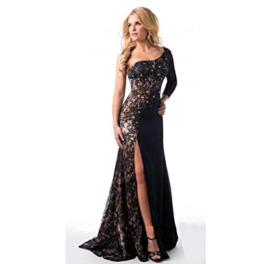 Veiai Sexy Long Sleeve Evening Dresses For Women One Shoulder Lace Long Formal Prom Dress