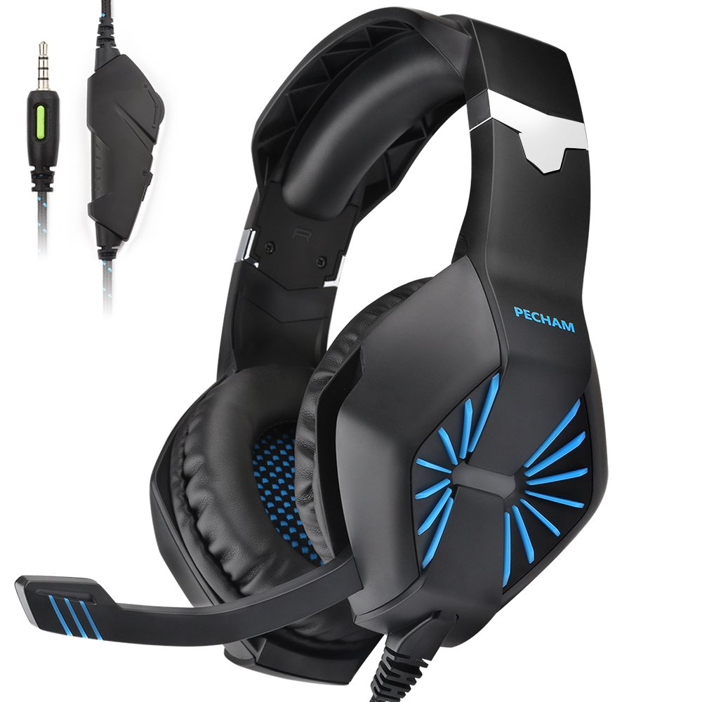 PECHAM Gaming Headset with Mic for Xbox One, PS4,Nintendo Switch, PC - Surround Sound, Noise Reduction Game Earphone - Easy Volume Control - 3.5MM Jack for Smart Phone, Laptops, Computer(Blue)