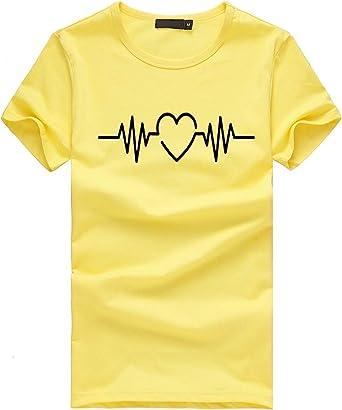 Camisa Verano Deporte Mujer Manga Larga Originales Mujer Manga Corta Camisetas Arriba Camisetas Mujer Manga Larga Camisa Hermoso Tops con Encaje Arriba Camisetas Mujer Manga Larga Camisa(XL,Amarillo): Amazon.es: Iluminación