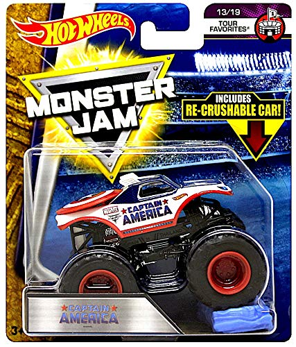 Captain America Tour Favorites Monster Jam Diecast with Recrushable Car