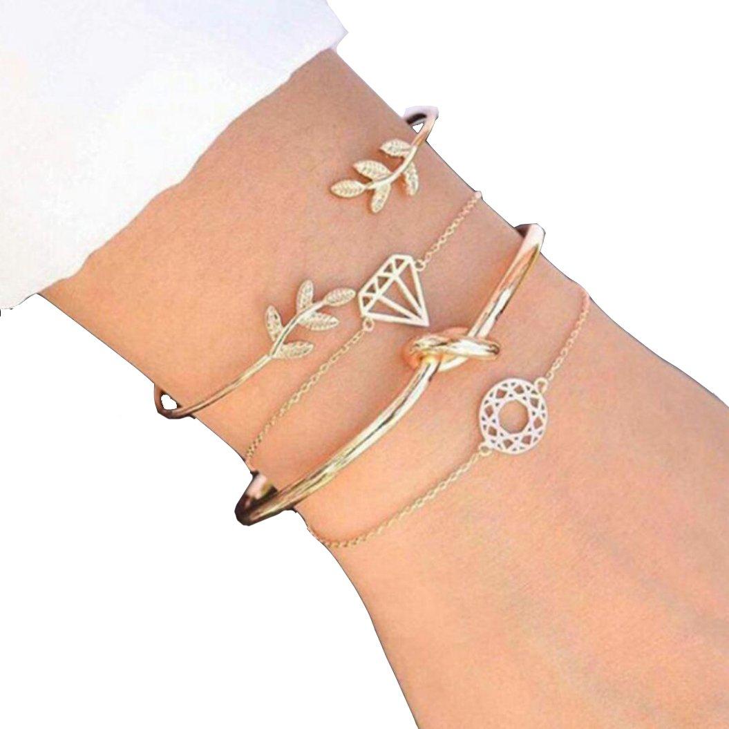 Leaf opening bracelets Four suits bracelets