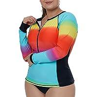 6938ac87fd8e4 Aleumdr Womens Long Sleeve Rashguard Swimsuit Zip Front Color Block Print  Tankini Swimsuit No Bottom Plus