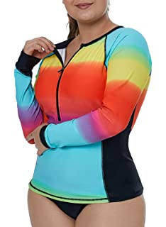 15a9de020b Aleumdr Womens Long Sleeve Rashguard Swimsuit Zip Front Color Block Print  Tankini Swimsuit No Bottom Plus