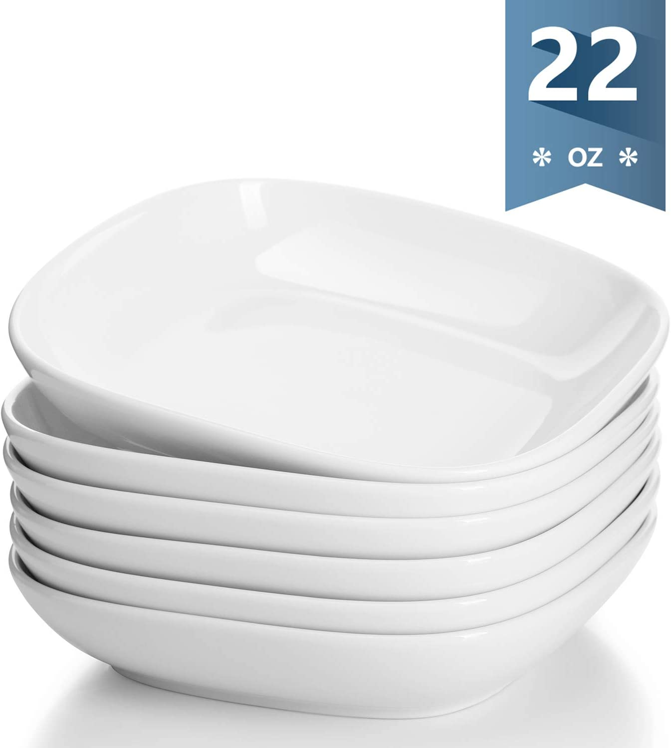 Sweese 120.001 Porcelain Square Salad Pasta Bowls - 22 Ounce - Set of 6, White
