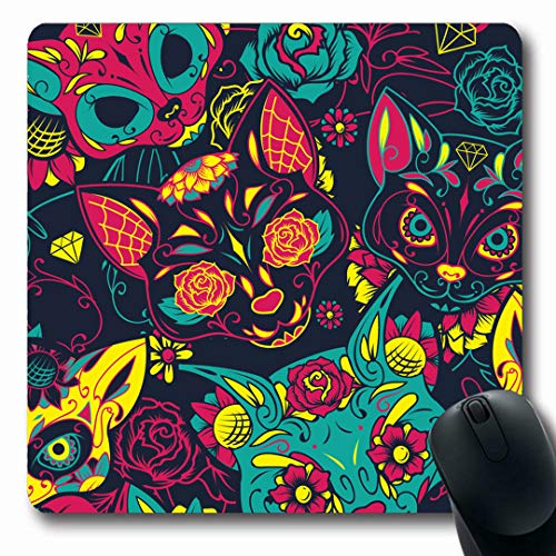 Ahawoso Mousepads Head Pattern Day Dead Sugar Cat Gothic Skull Tattoo School Old Mexican Design Mask Oblong Shape 7.9 x 9.5 Inches Non-Slip Gaming Mouse Pad Rubber Oblong -