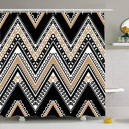 Ahawoso Shower Curtain 60x72 Inches Style Pattern Black White Tan Zig Zag Vintage Chevron Abstract Aztec Ikat Chain Ethnic Funky Waterproof Polyester Fabric Bathroom Curtains Set with Hooks ()