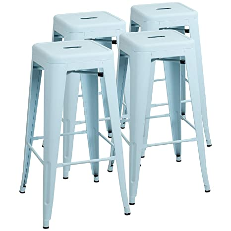 Brilliant Furniwell 30 Inches Metal Bar Stools High Backless Tolix Indoor Outdoor Stackable Barstool With Square Counter Seat Set Of 4 Blue Gmtry Best Dining Table And Chair Ideas Images Gmtryco