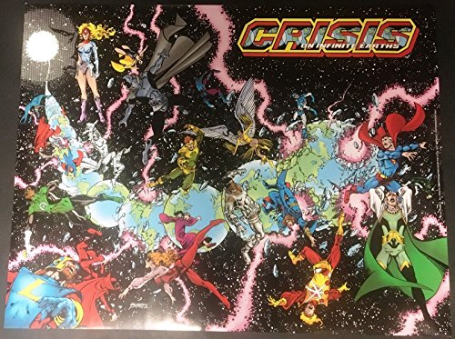 "Crisis on Infinite Earths Promotional poster 22"" x 28.5"" George Perez art"