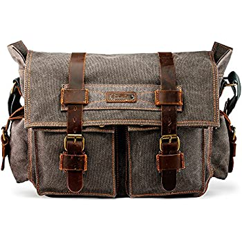 6eb5ab8e57 GEARONIC Mens Canvas Leather Messenger Bag for 14