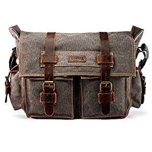 71ccb593b81a Amazon.com  GEARONIC Mens Canvas Leather Messenger Bag for 14
