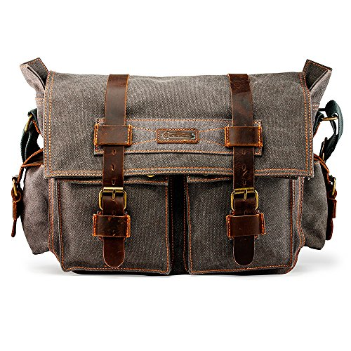 GEARONIC Mens Canvas Leather Messenger Bag for 14' 17' Laptop Satchel Vintage Shoulder Rugged Military Crossbody Large Briefcase (14 inch, Slate)