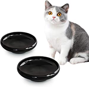 ComSaf Cat Food Water Bowl, Wide Shallow Ceramic Cat Dish, Non Spill Pet Bowl,10oz, Black, Pack of 2