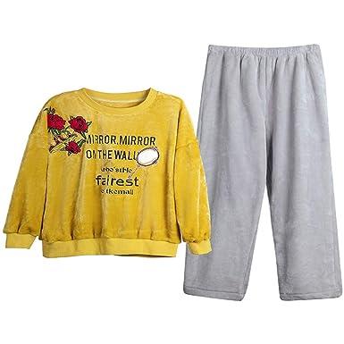 Mmllse Mujer De Invierno Engrosada Coral Velvet Pijamas De ...