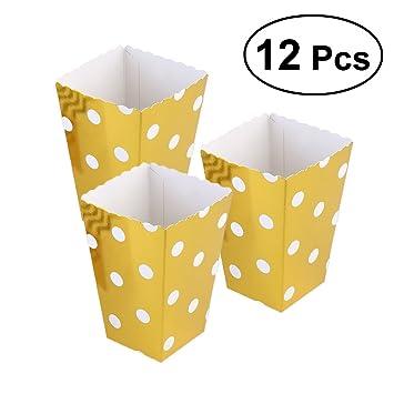 Toyvian 12Pcs Cajas de Palomitas de cumpleaños del envase cumpleaños Baby Showers Favores del Banquete de Boda (Puntos de Oro): Amazon.es: Hogar