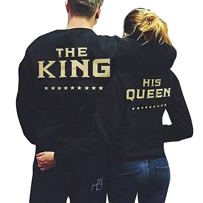Teamyy Sudadera Camiseta Top de Manga Larga para Novios King and Queen Negro: Amazon.es: Ropa y accesorios
