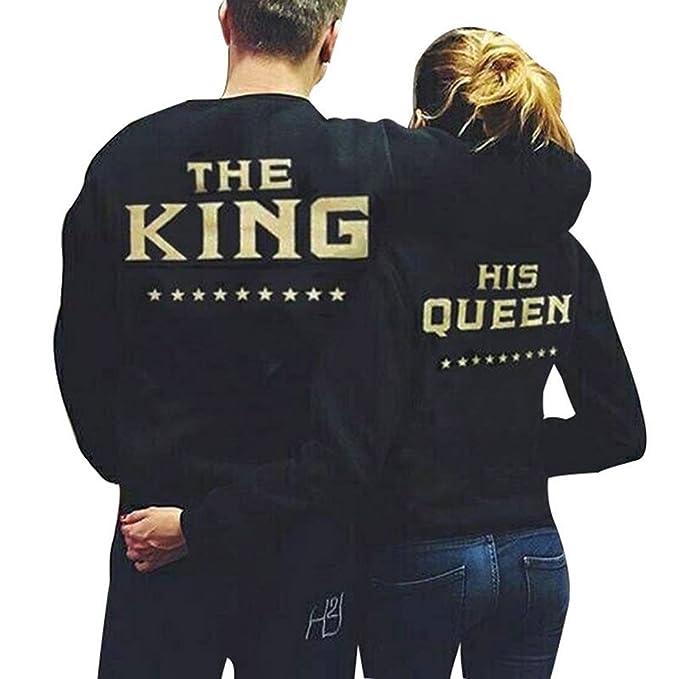 Teamyy Sudadera Camiseta Top de Manga Larga para Novios King and Queen Negro: Amazon.es: Ropa y accesorios