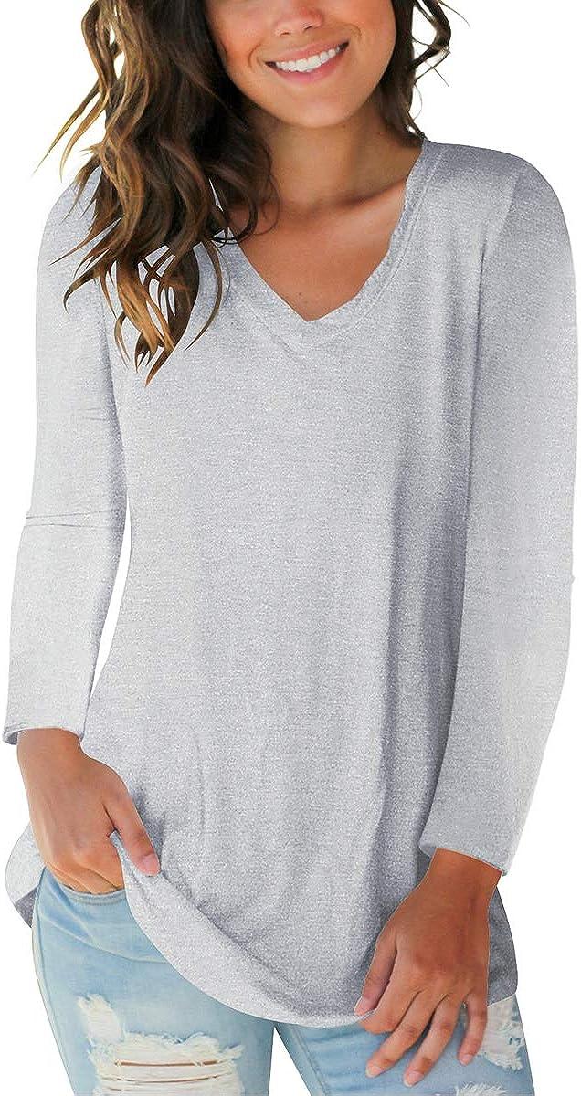 SAMPEEL Womens Fall Basic Long Sleeve V Neck T-Shirts Casual Tops 610OQNZh8xL