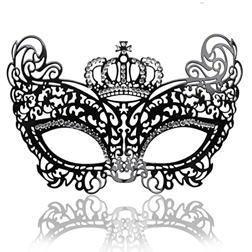 (FaceWood Masquerade Mask for Women Ultralight Metal Mask Shiny Rhinestone Venetian Pretty Party Evening Prom Ball)
