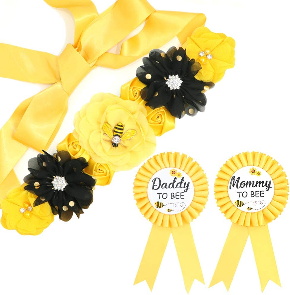 Yellow Maternity Sash Mommy Daddy Corsage Set – What Will Baby Bee Baby Shower Gift Set Mommy Sash Pregnancy Sash Keepsake Baby Shower Flower Belly Belt